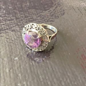 Jewelry - Vintage Amethyst and silver filigree ring.